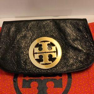 Tory Burch amanda  black patent leather clutch
